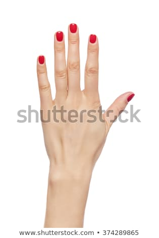 mulher · belo · vermelho · unhas · mãos · exibir - foto stock © nobilior