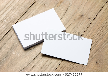 Sablon fehér névjegy fa asztal eps 10 Stock fotó © sabelskaya
