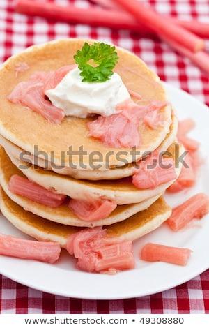 Pancakes with stewed rhubarb Stock photo © raphotos