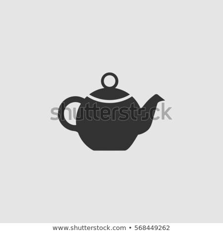 Teapot icon in gray colors stock photo © aliaksandra