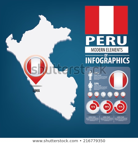 Map on flag button of Republic  Peru Stock photo © Istanbul2009