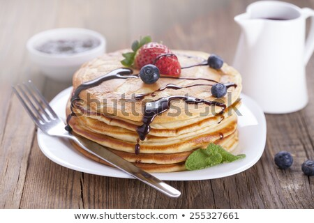 Stok fotoğraf: Delicious Sweet American Pancakes On A Plate With Fresh Fruits