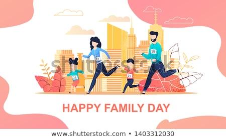 Marathon famille illustration femme homme fitness Photo stock © adrenalina