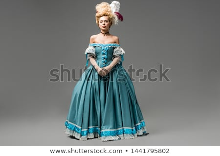 Nő paróka ruha portré lány mosoly Stock fotó © courtyardpix