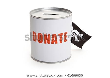 Stock fotó: Adomány · doboz · kalóz · zászló · pénzügyi · bűnözés