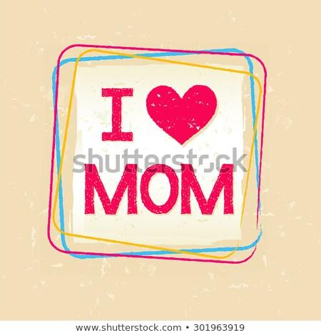 I Love You Mom In Frame Over Old Paper Background Stockfoto © marinini