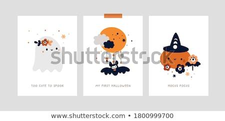 Foto stock: Halloween · mamãe · bebê · abóboras · menina · sorrir