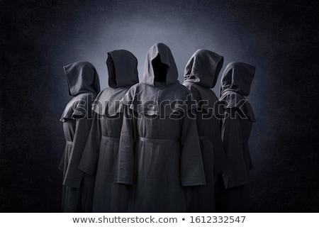 Sötét szerzetes áll vér fedett fal Stock fotó © Bigalbaloo