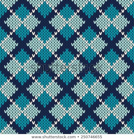 Foto stock: Azul · a · rayas · lana · suéter · blanco
