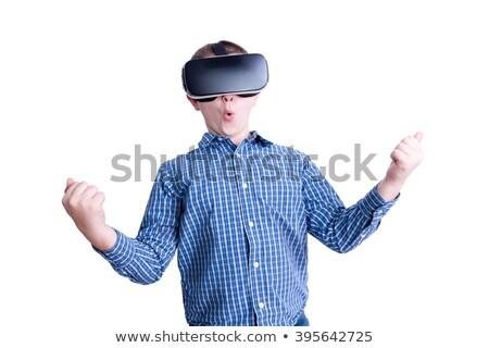 Kind virtueel realiteit bril mannelijke Rood Stockfoto © ozgur