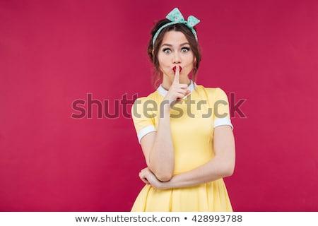joli · femme · silence · geste · regarder - photo stock © deandrobot