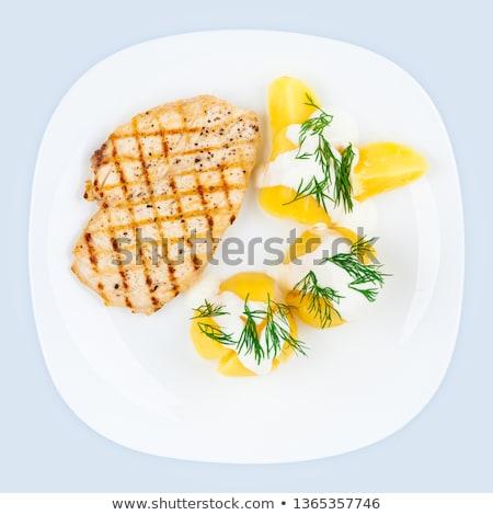 Bouilli poitrine de poulet légumes frais crème pita viande Photo stock © vlad_star