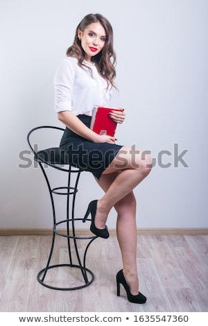 девушки сидят Бар Председатель белый Сток-фото © DedMorozz
