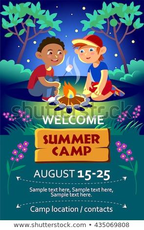 kinderen · zomerkamp · poster · twee · jongens · kampvuur - stockfoto © natalya_zimina