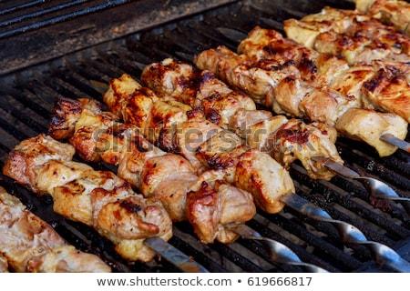 nyers · tyúk · kebab · fém · narancs · vacsora - stock fotó © digifoodstock