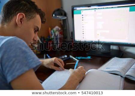cute · student · praca · domowa · biały · książek · pomarańczowy - zdjęcia stock © phakimata