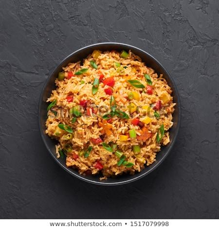 Rizs sült paprika vacsora ebéd étel Stock fotó © M-studio