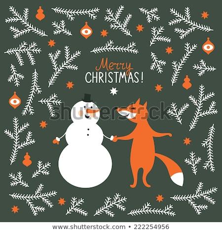 vector cartoon of winter fox stock photo © grivina