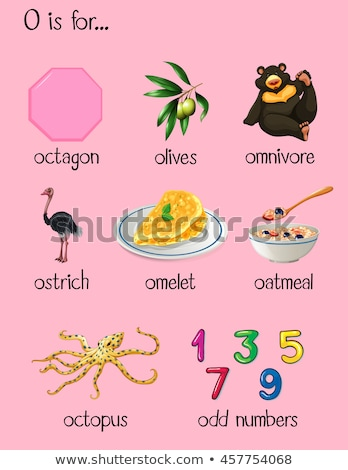 flashcard letter o is for omnivore stock photo © bluering