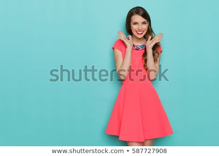 Foto stock: Hermosa · las · mujeres · jóvenes · moda · vestido · brillante · floral