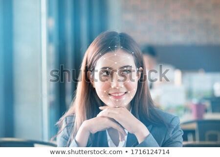 女性実業家 笑みを浮かべて カメラ 同僚 リスニング プレゼンテーション ストックフォト © wavebreak_media