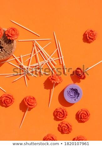 Orange Essstäbchen Blumenmuster Paar floral Muster Stock foto © Digifoodstock
