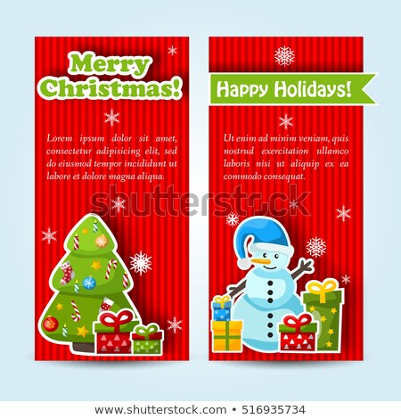 Stockfoto: Set Of Two Vertical Christmas Banners Holiday Greeting