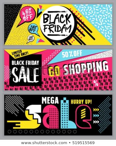черная пятница продажи скидка предлагать плакат желтый Сток-фото © SArts