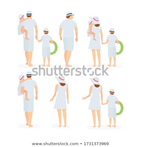 hátulnézet · nő · fürdőruha · tengerpart · áll · kezek · magasban - stock fotó © deandrobot