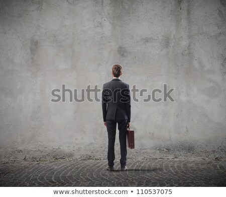 Front view standing business man with briefcase Stock photo © ivonnewierink