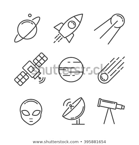 Spaceship outline, linear flying rocket vector Stock photo © Andrei_
