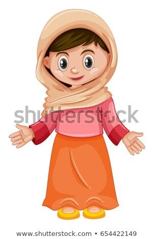 Kız pembe turuncu kostüm örnek mutlu Stok fotoğraf © bluering
