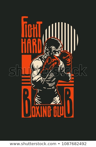 Boxing. Boxing club labels on grunge background. T-shirt print t Stock photo © masay256