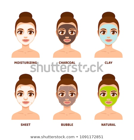 Skin beautiful woman with peeling green face mask vector illustr Stock photo © NikoDzhi