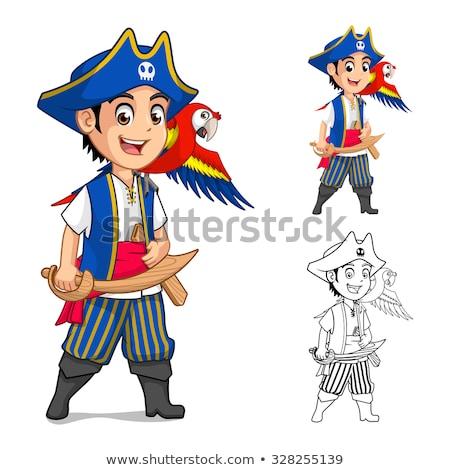 pirate cartoon character on beach stock photo © krisdog