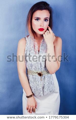 jóvenes · bastante · rubio · mujer · lujo · joyas - foto stock © iordani