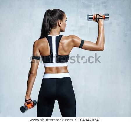 Stock fotó: Hátsó · nézet · női · atléta · emel · súlyzó · fehér