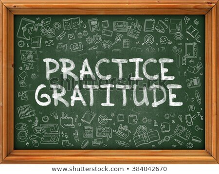 Hand Drawn Practice Gratitude on Green Chalkboard. Stock photo © tashatuvango