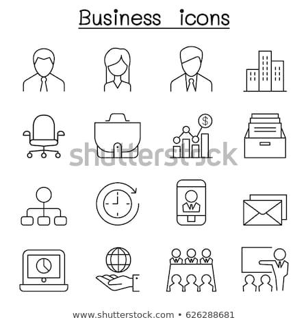 silhueta · mulher · secretário · computador · ilustração · negócio - foto stock © olena
