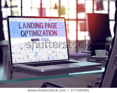 Landing Page of Laptop with Keywords Concept. 3D. Stock photo © tashatuvango