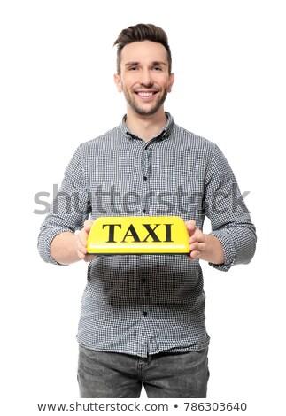 Citromsárga taxi felirat autó tető szelektív fókusz Stock fotó © stevanovicigor