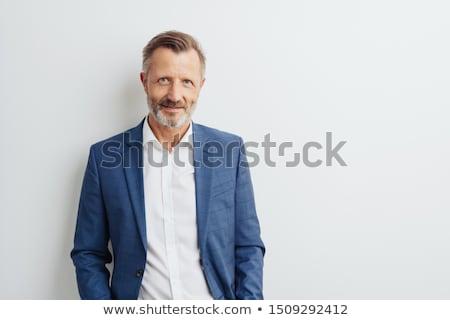 Figyelmes férfi áll fehér középső rész kommunikáció Stock fotó © wavebreak_media