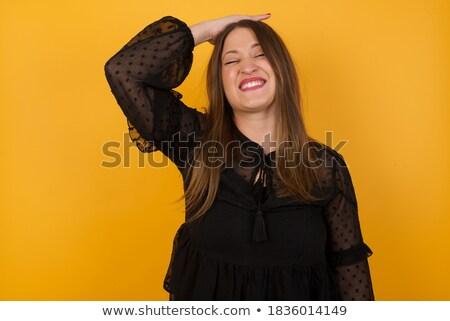 Blond toevallig vrouw hand voorhoofd Stockfoto © feedough