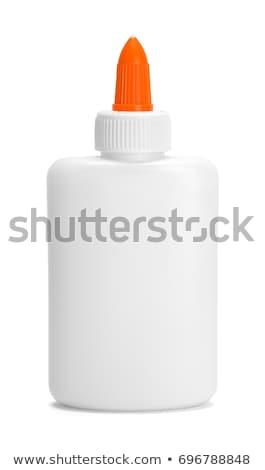 Stockfoto: Lijm · fles · schoolbenodigdheden · papier · onderwijs · witte