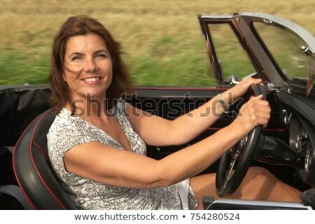 Kopott nő sportautó autó jókedv mosolyog Stock fotó © IS2