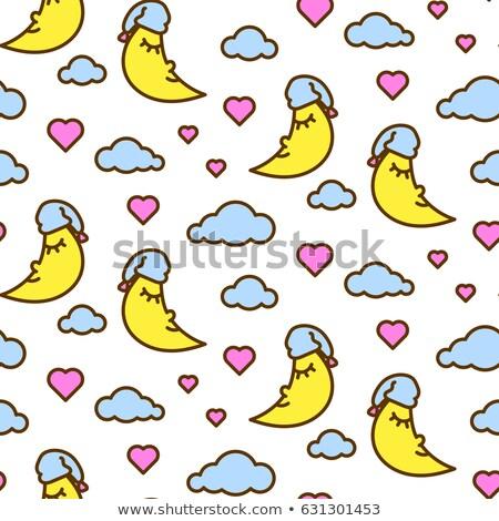 Pink Sleeping Moon And Clouds Line Icon Cute Vector Pattern Stock fotó © YoPixArt