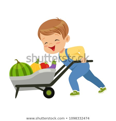 boy pushing a cart with plants and garden tools stock photo © rastudio