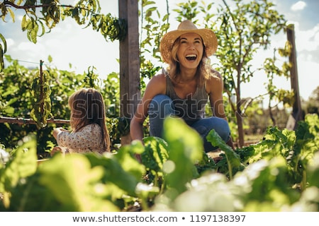 A young girl and woman work in allotment Stock photo © IS2