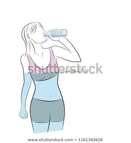 белый воды икона почка линейный стиль Сток-фото © Olena