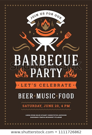 Barbecue party flyers with meats on grill Stock photo © studioworkstock